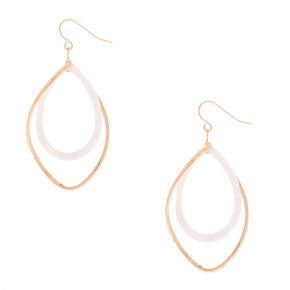 """Gold 2"""" Twist Drop Earrings - Ivory,"""