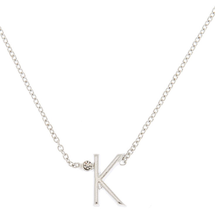 Silver Initial Necklace - K,