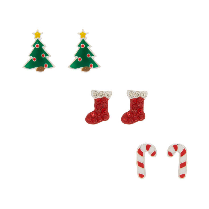 Sterling Silver Christmas Stud Earrings - 3 Pack,