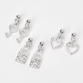 Silver Heart Lock & Key Dangly Stud Earrings - 3 Pack,