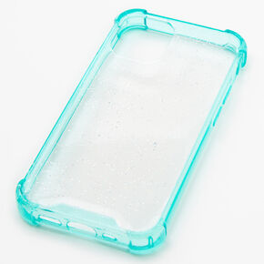 Mint Glitter Clear Phone Case - Fits iPhone 12 Mini,