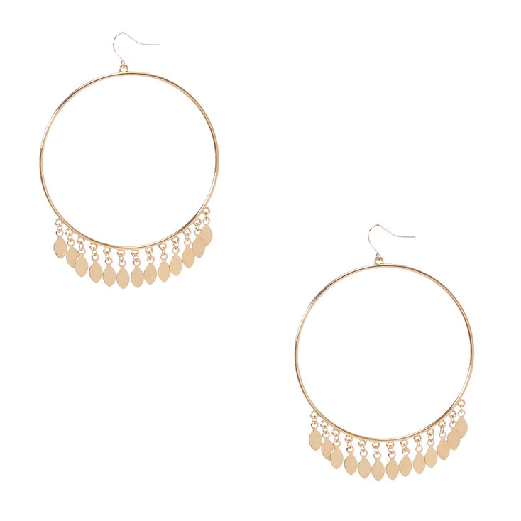 Gold-Tone Large Circle Drop Earrings with Dangles,