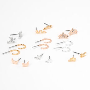 Mixed Metal Mystical Stud & Hoop Earrings - 9 Pack,