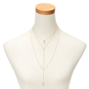Rose Gold Glitter Disk Multi Strand Necklace,