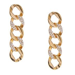 Faux Crystal Gold Tone Chain Link Drop Earrings,