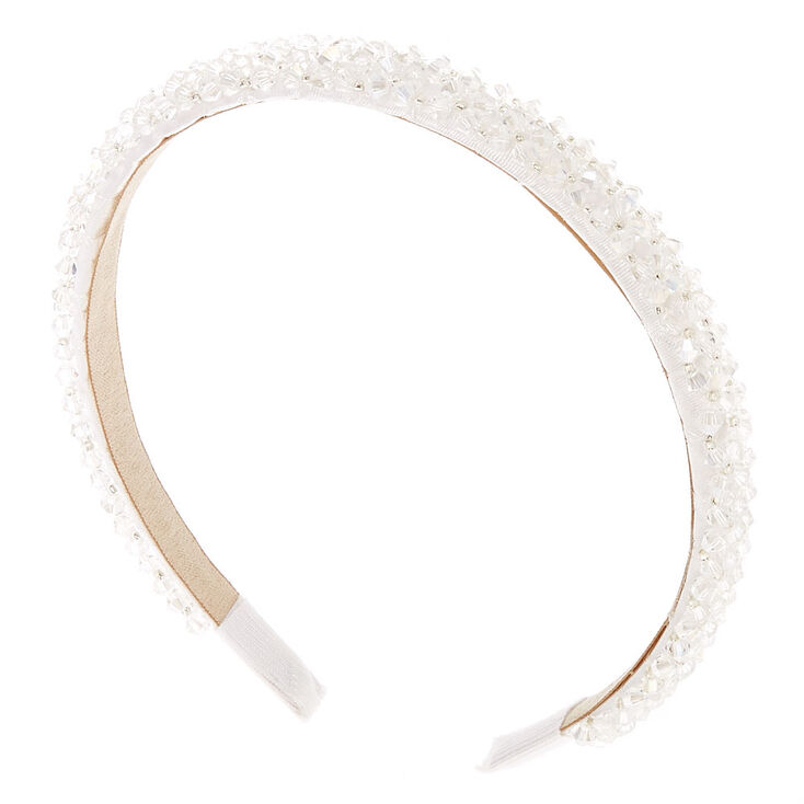 1920s Flapper Headband, Gatsby Headpiece, Wigs Icing Faceted Bead Headband - White $16.99 AT vintagedancer.com