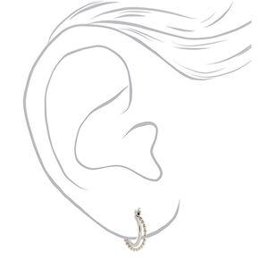 Silver 15MM Braided Double Hoop Earrings,