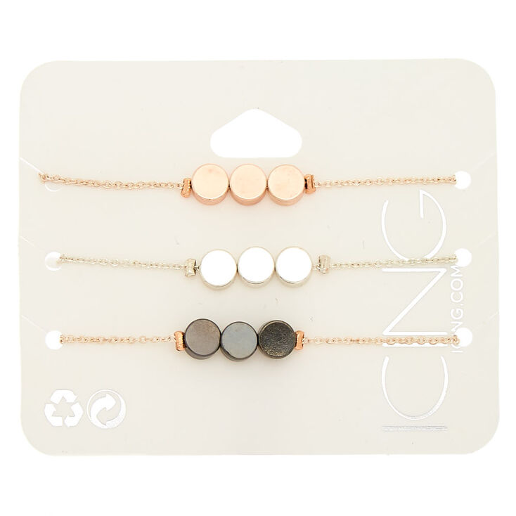 Mixed Metal Disk Chain Bracelets - 3 Pack,