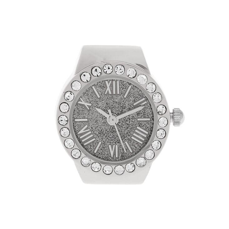 Silver Glitter Ring Watch,