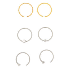 Mixed Metal 20G Open Twist Nose Rings - 3 Pack,