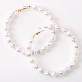 Gold 60MM Pearl Hoop Earrings - Ivory,