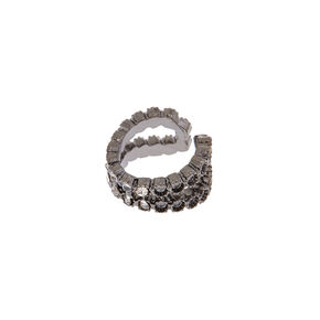 Faux Black Pave Lip Ring,