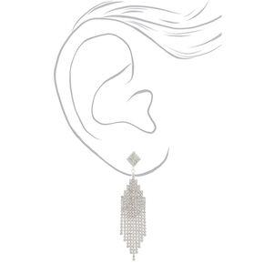 """Silver Rhinestone 3"""" Cascade Drop Earrings,"""