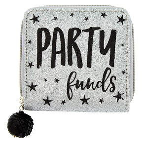 Glitter Party Funds Zip Mini Zip Wallet - Silver,
