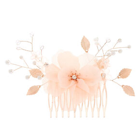 Rose Gold Fabric Flower Hair Comb,