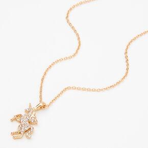 Gold Embellished Unicorn Pendant Necklace,