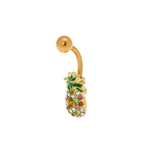 Gold 14G Crystal Pineapple Belly Ring - Green,