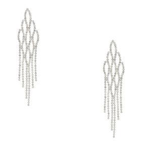 Silver Tone Faux Crystal Fish Scale Drop Earrings,