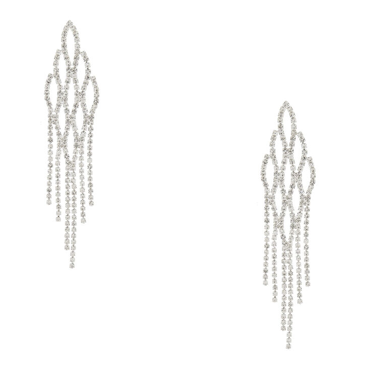 Silver Tone Faux Crystal Fish Scale Drop Earrings,