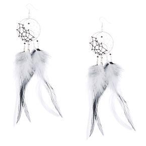 """6"""" Yin & Yang Dreamcatcher Drop Earrings,"""