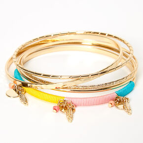 Gold Feather Beaded Bangle Bracelets - 5 Pack,