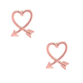 Pink Arrow Heart Stud Earrings,