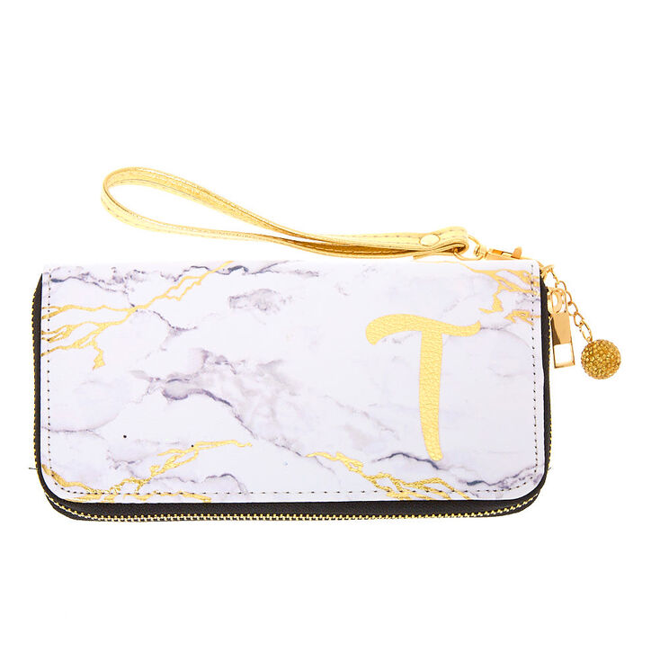 Marble Initial Wristlet - T,