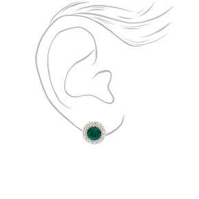 Silver Crystal Stud Earrings - Emerald,