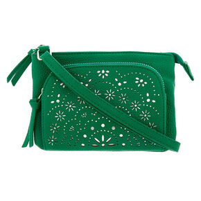 Filigree Cut Perforated Crossbody Bag - Green,