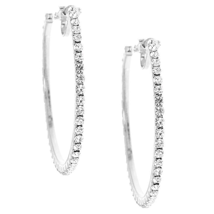 40MM Silver-Tone Half Hoop Clip On Earrings,
