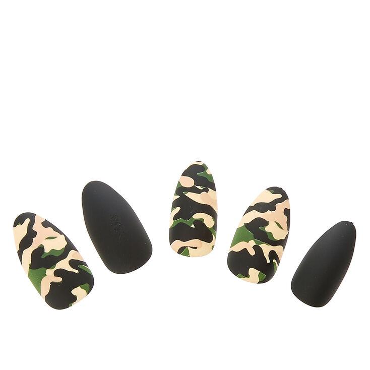 Camo Matte Stiletto Instant Nails,