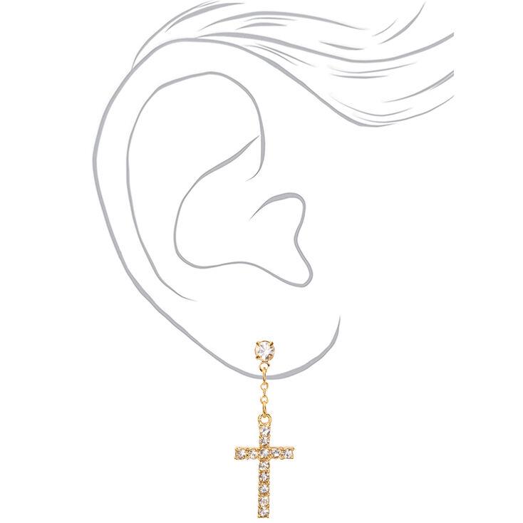 """Gold 1"""" Embellished Cross Drop Earrings,"""