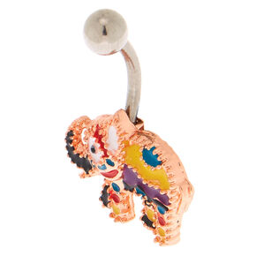 Rose Gold 14G Festive Elephant Belly Ring,