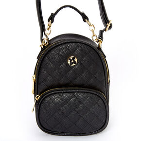 Faux Leather Quilted Mini Backpack Crossbody Bag - Black,