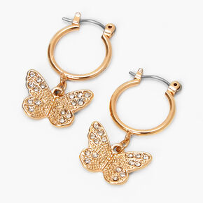 Gold 10MM Filigree Butterfly Hoop Earrings,