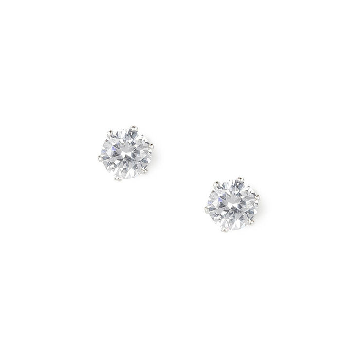Silver Cubic Zirconia 3MM Round Stud Earrings,