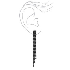 Jet Black Rhinestone Linear Graduated Fringe Drop Earrings,
