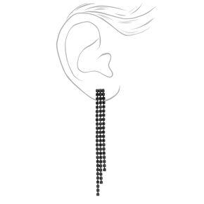 Jet Black Rhinestone Linear Graduated Fringe Drop Earrings,