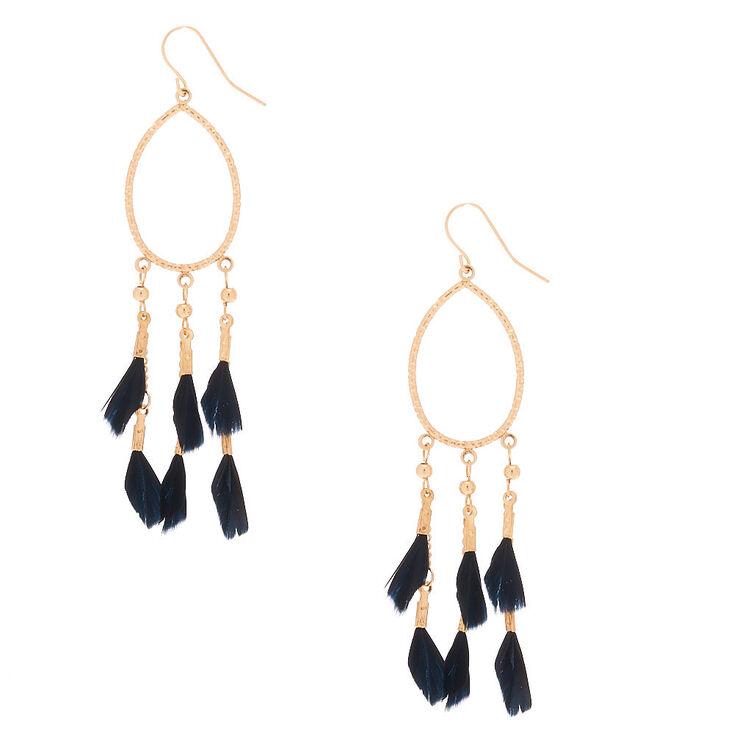 "Gold 3"" Oval Feather Drop Earrings - Black,"