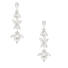"Silver Rhinestone 2"" Petal Drop Earrings,"
