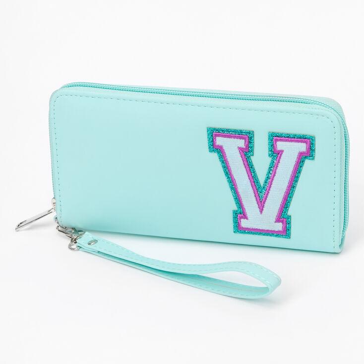 Mint Varsity Initial Wristlet - V,
