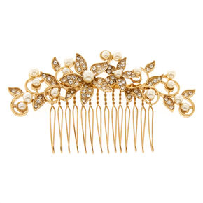 Gold Tone Ivory Faux Pearl Floral Hair Comb,