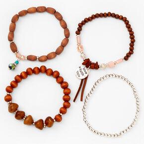 Love, Faith, YOLO Beaded Stretch Bracelets - Brown, 4 Pack,