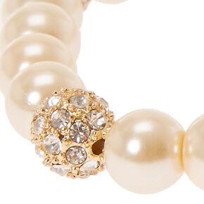 Faux Ivory Pearl & Fireball Bracelet,