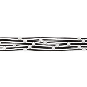 Pearl Woven Cord Choker Necklace - Black,