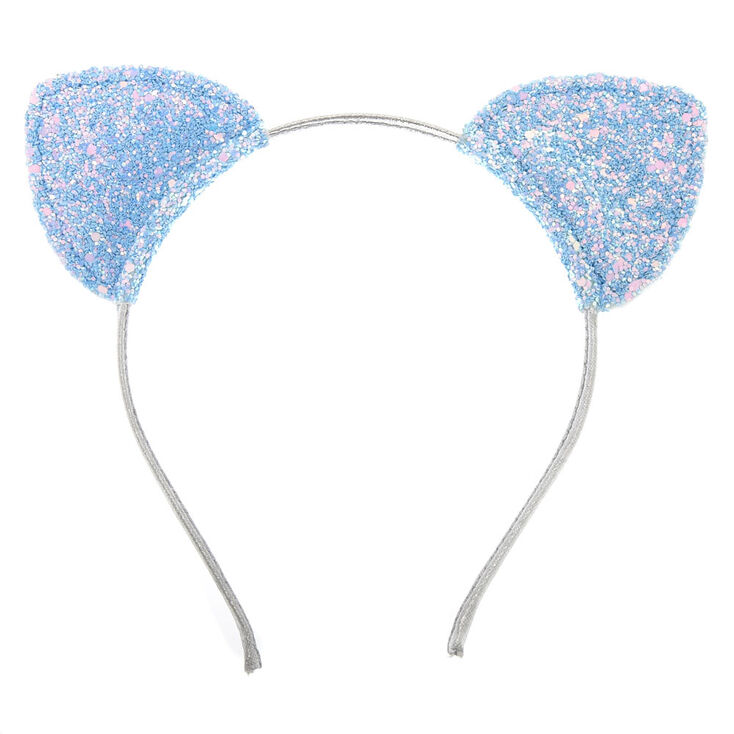 Baby Blue Glitter Cat Ears Headband,