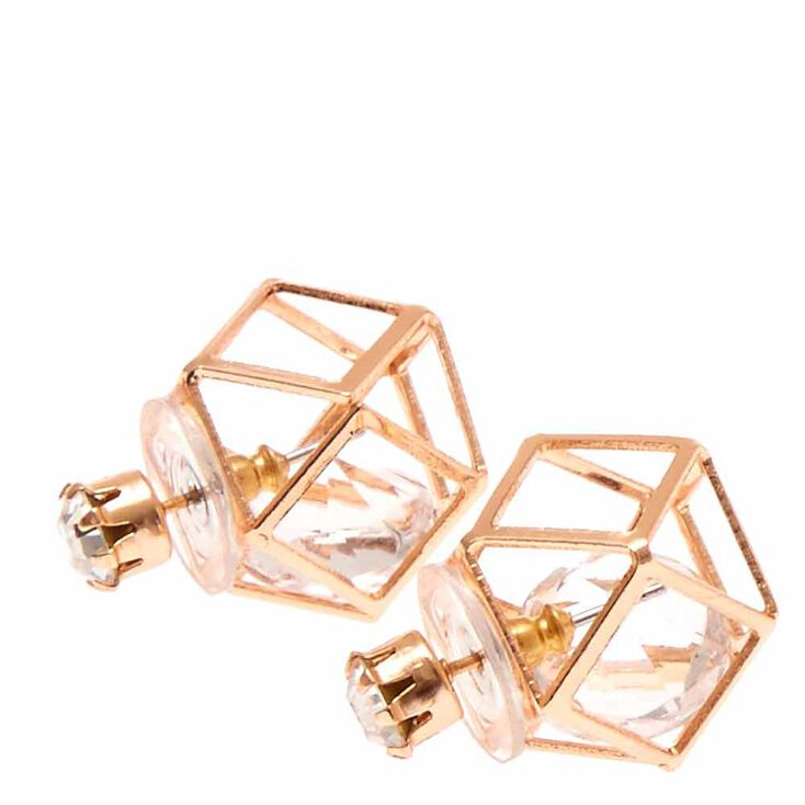 Rose Gold Tone Clear Crystal &  Geometric Cage Front & Back Stud Earrings,
