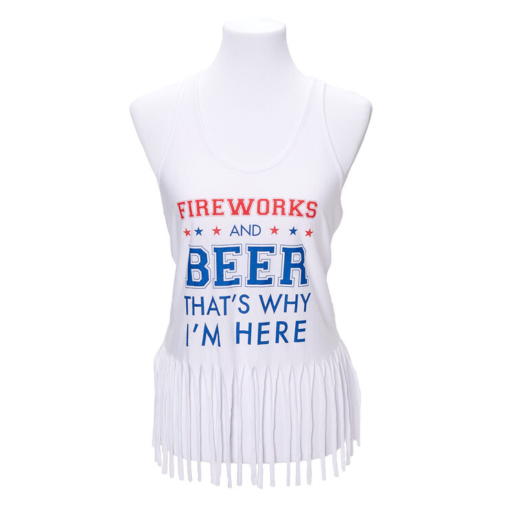 Fireworks And Beer Fringe Tank Top - White,