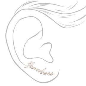 Silver Tone Cursive Flawless Ear Crawlers,