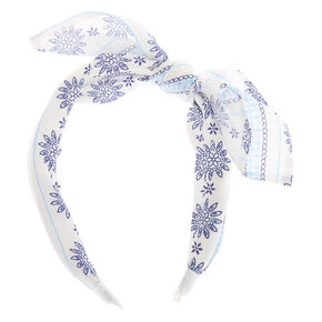 Prairie Floral Knotted Bow Headband - White,